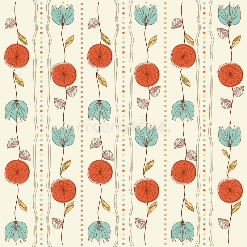 Fond sans joint de configuration avec les fleurs rouges illustration stock