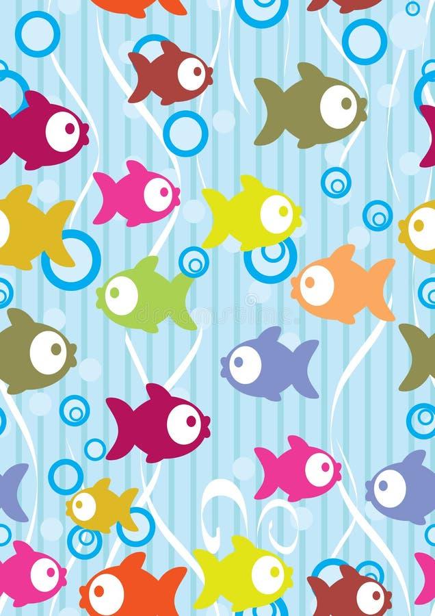 Fond sans joint de couleur avec les poissons mignons de dessin animé illustration de vecteur