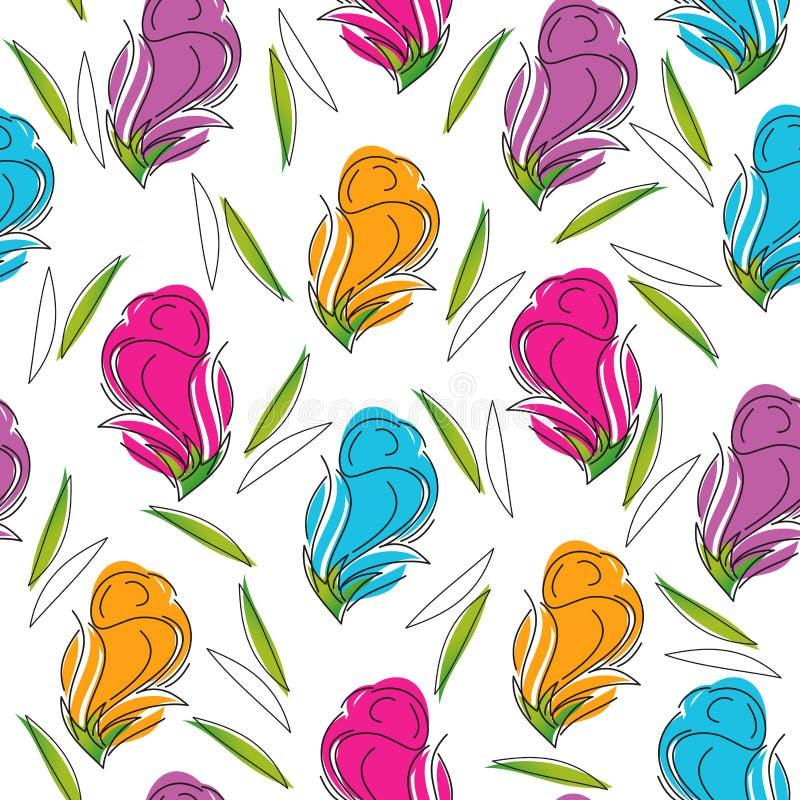 Fond sans joint de fleur rose artistique illustration stock