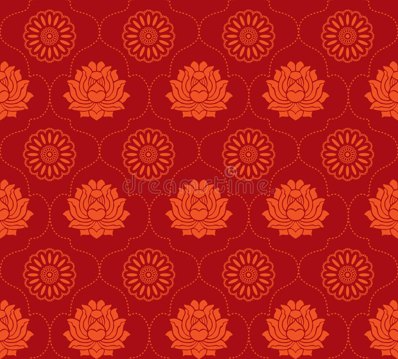 Fond sans joint de lotus rouge illustration libre de droits