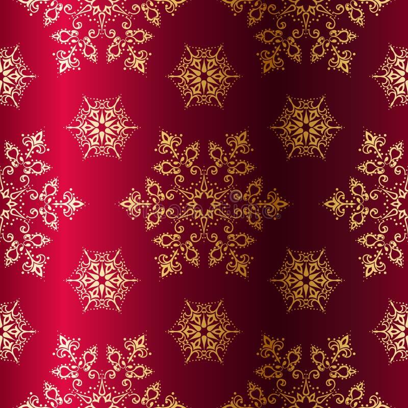 Fond sans joint de Noël de Rouge-et-Or illustration de vecteur