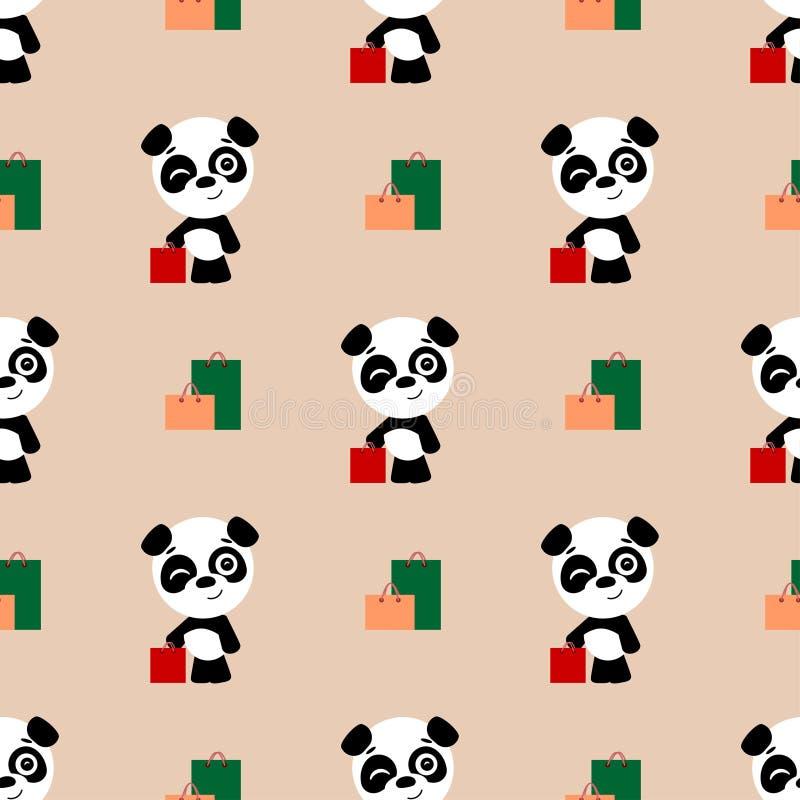 Fond sans joint de vecteur Achats mignons de panda de bande dessinée Le panda se tient à côté des paquets illustration de vecteur
