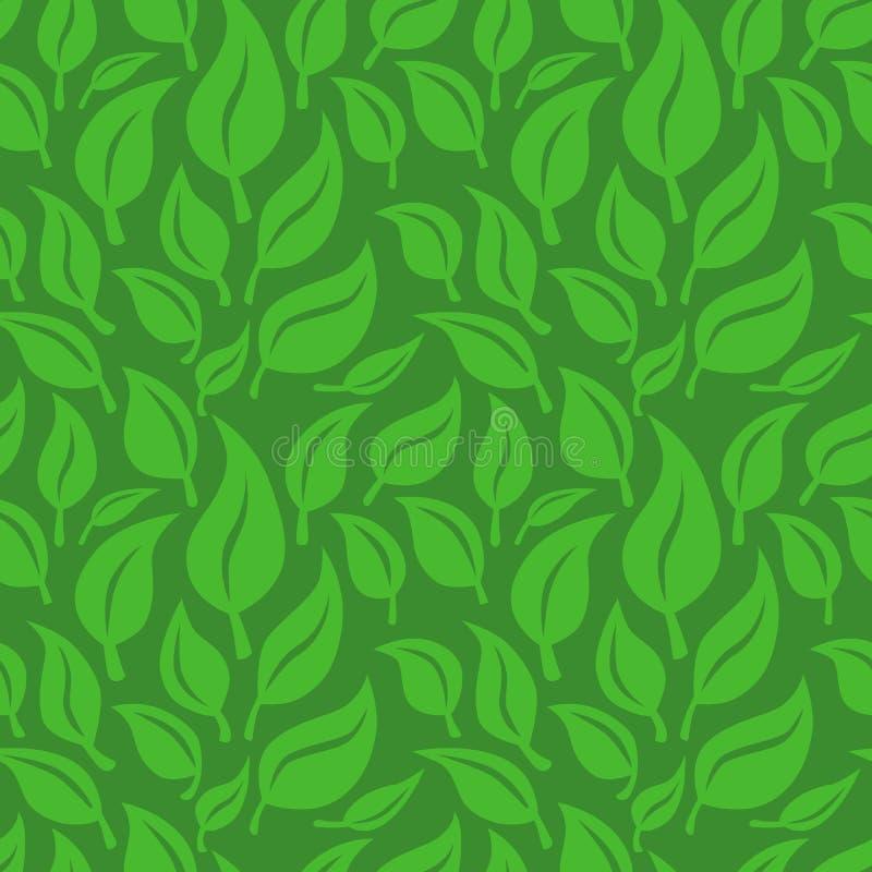 Fond sans joint de vecteur avec les lames vertes illustration libre de droits