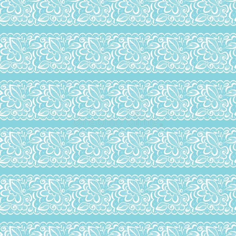 Fond sans joint de vecteur Dentelle blanche sur bleu-clair illustration libre de droits