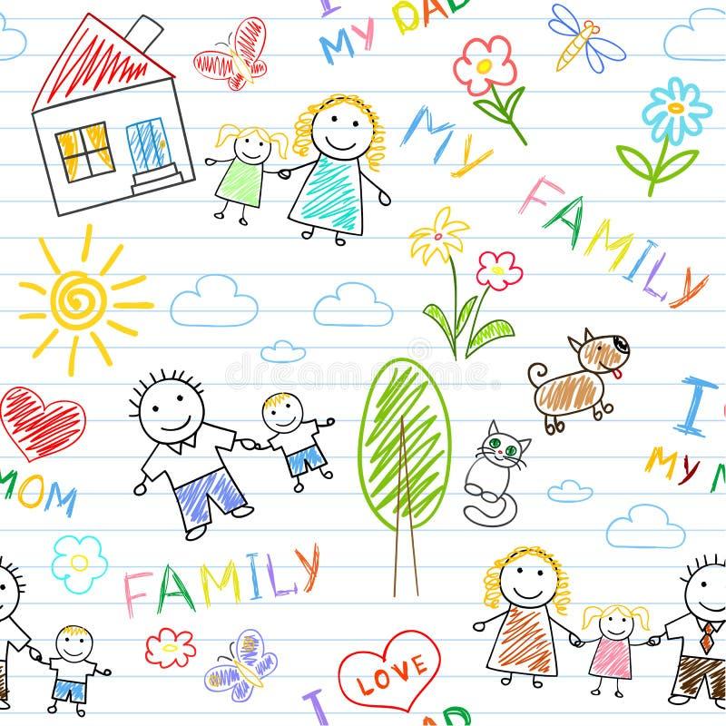 Fond sans joint - famille heureux illustration libre de droits