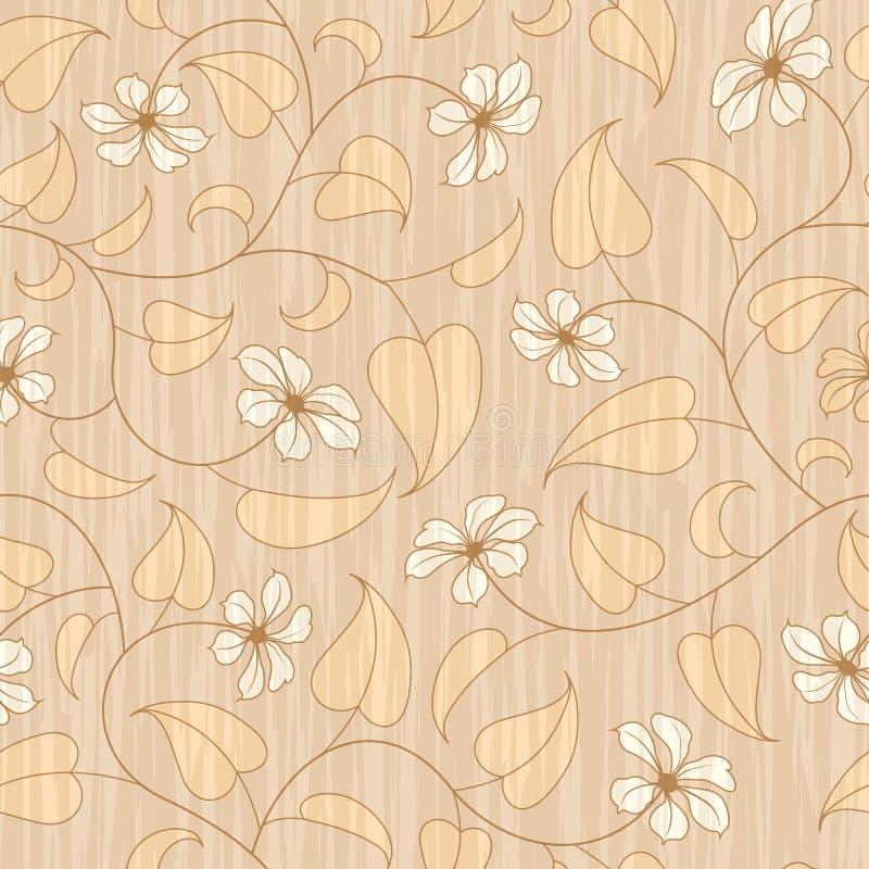 Fond sans joint floral beige abstrait illustration de vecteur