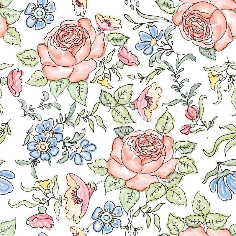 Fond sans joint floral Configuration de fleur illustration libre de droits