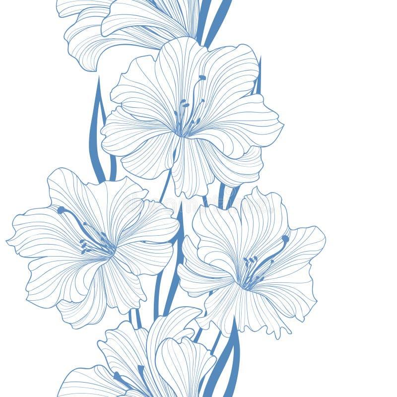 Fond sans joint floral Configuration de fleur Cadre avec des fleurs illustration stock