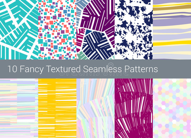 Fond sans joint géométrique de configuration Ensemble de 10 textures abstraites illustration stock