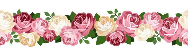 Fond sans joint horizontal avec des roses. illustration de vecteur