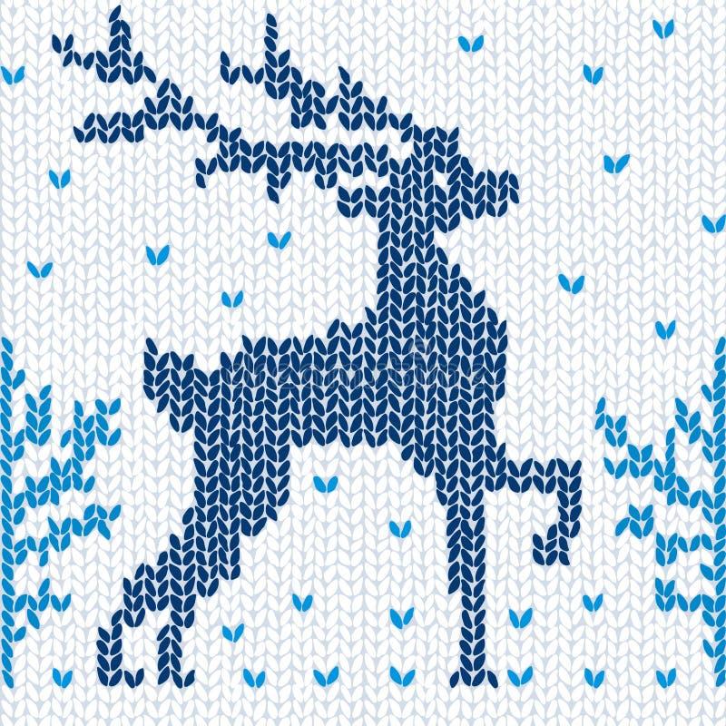 Fond sans joint tricoté avec un cerf commun illustration stock