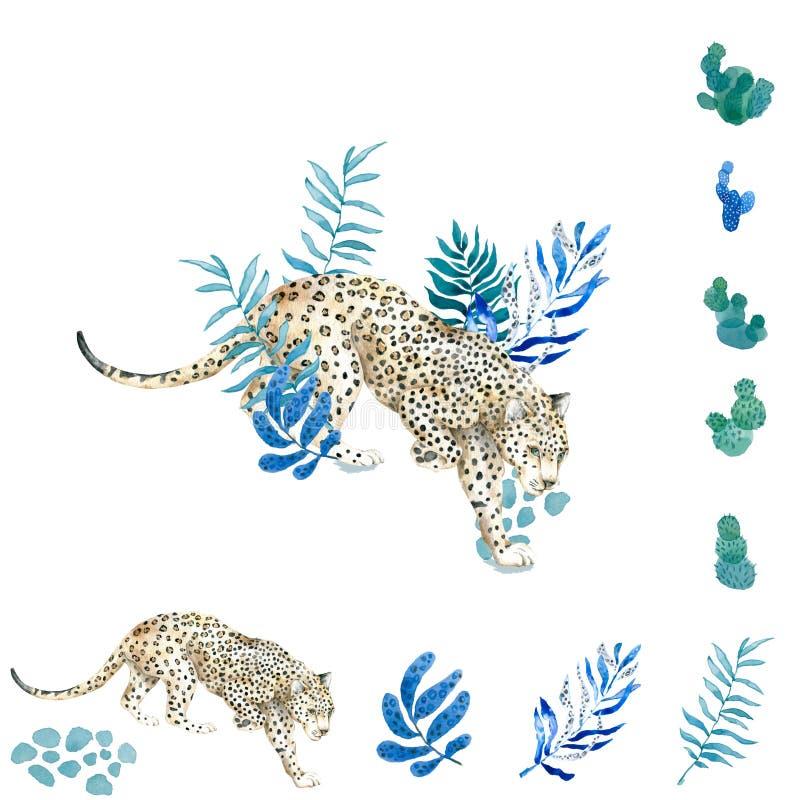 Fond sauvage mignon tropical d'illustration de chats avec des palmiers, léopard, ketmie D'isolement sur le fond blanc Jungle exot illustration libre de droits