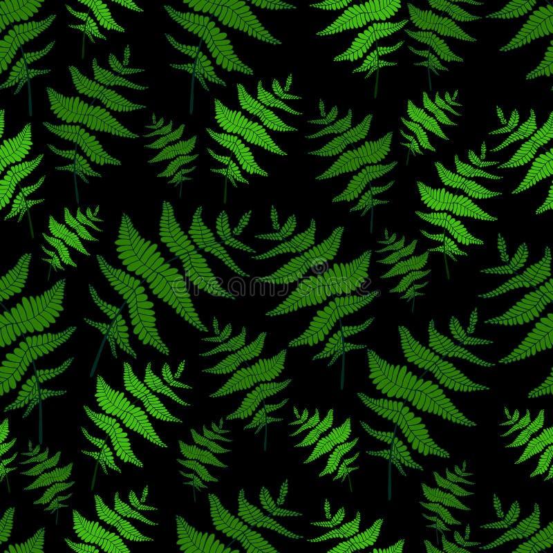 Fond sauvage sans couture de noir de modèle de forêt de feuille verte de fougère illustration libre de droits