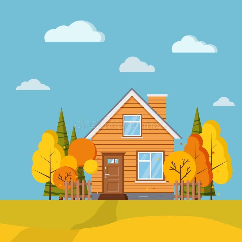 Fond scénique de paysage de champ d'automne avec les arbres jaunes et oranges, sapins, barrières, maison rurale de bande dessinée illustration stock