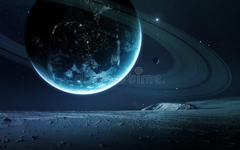 Fond scientifique abstrait - planètes en espace, nébuleuse et étoiles Éléments de cette image meublés par la NASA de la NASA gouv images stock
