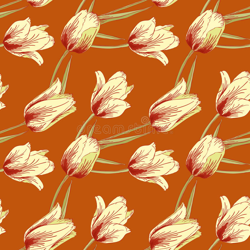 Fond sealess de tulipes de vecteur. illustration stock