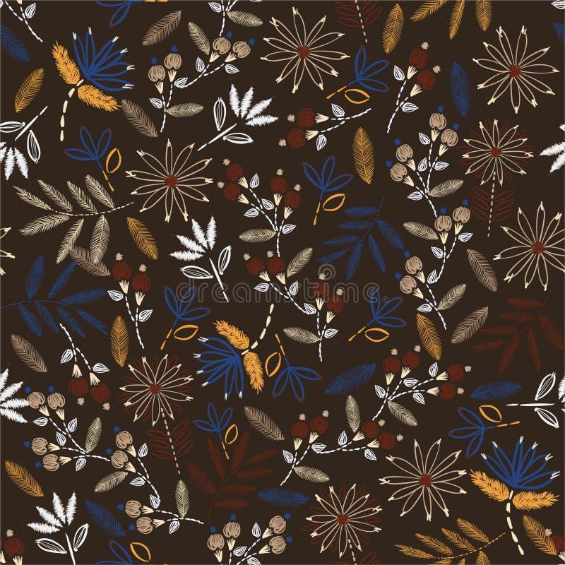 Fond sensible de point de main d'humeur de cru de broderie Broderie de floraison traditionnelle conception d'illustration de vect illustration de vecteur