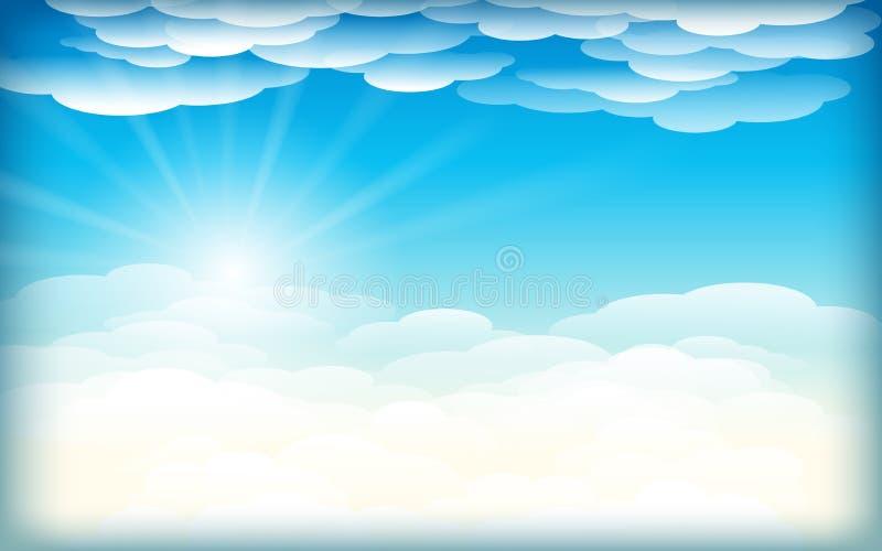 Fond simple de ciel avec les nuages et le soleil vue de fond de vecteur au-dessus des nuages ciel bleu rougeoyant Rayons de Sun d illustration libre de droits