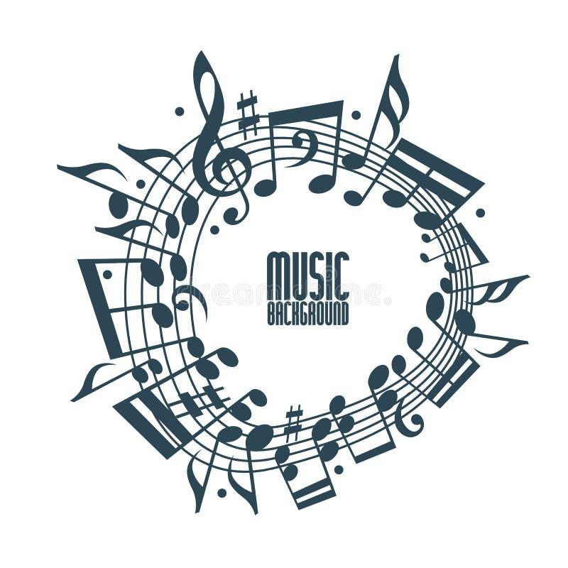 Fond simple de musique avec les notes et la clef illustration libre de droits