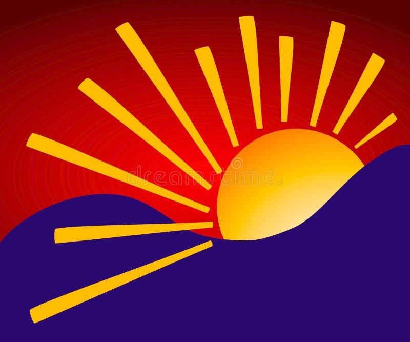 Fond simpliste de lever de soleil illustration de vecteur