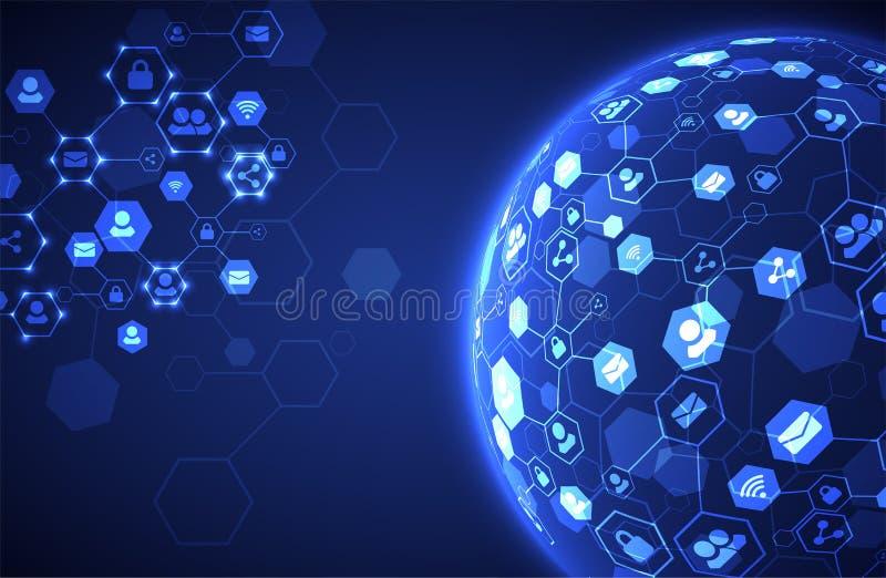 Fond social de vecteur de media Concept de réseau illustration stock
