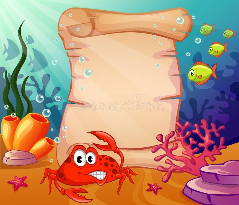 Fond sous-marin avec le crabe et la vieille lettre illustration stock