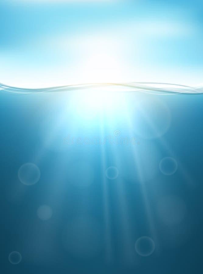 Fond sous-marin avec le rayon du soleil illustration libre de droits