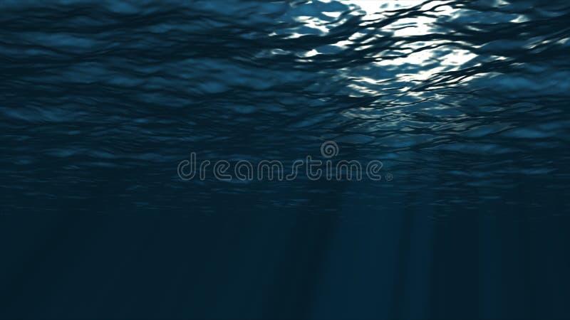 fond sous-marin Eau du fond bleue avec des lumières d'ondulation et de vague illustration de vecteur