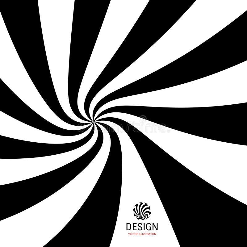 Fond spiralé hypnotique Configuration avec l'illusion optique Conception noire et blanche Illustration rayée de vecteur illustration stock