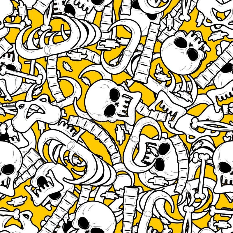 Fond squelettique Désosse le modèle sans couture Ornement de crâne ana illustration stock