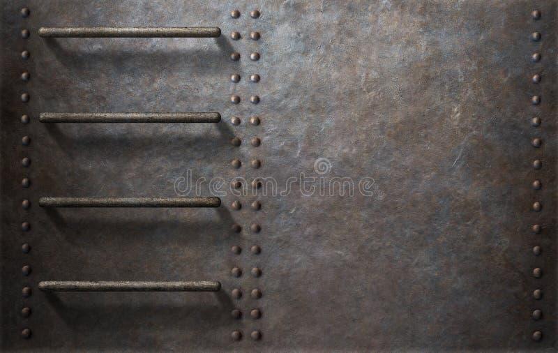 Fond submersible de côté en métal avec des escaliers photographie stock