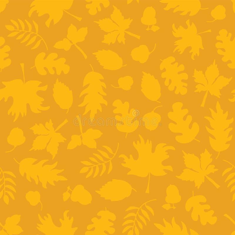 Fond subtil d'automne La chute laisse le modèle sans couture de vecteur Silhouettes jaunes de feuille sur l'orange Glands de mout illustration de vecteur
