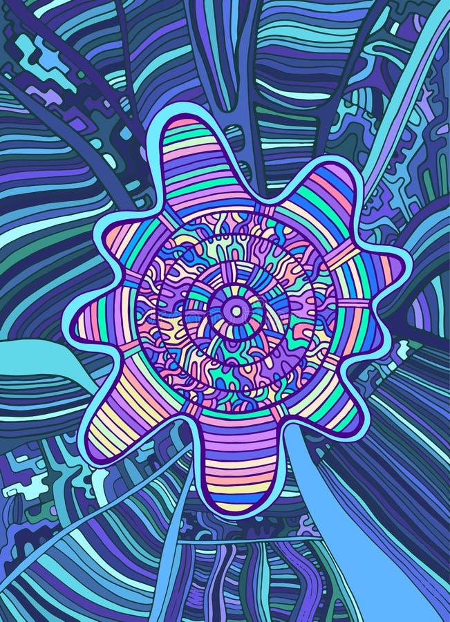 Fond surréaliste coloré psychédélique de griffonnage Imagination abstraite illustration libre de droits