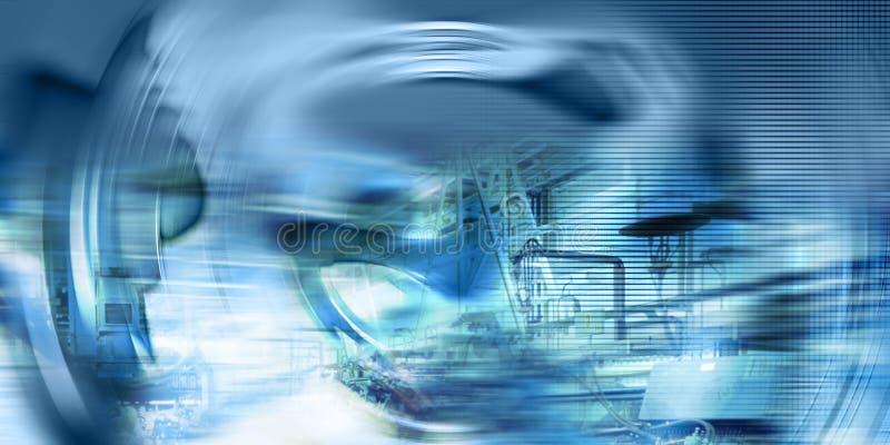 Fond Techno-Industriel, couleurs Électrique-Bleues illustration stock