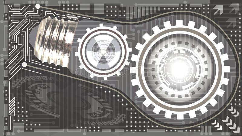 Fond technologique abstrait avec l'ampoule, les vitesses et la puce des nuances grises et blanches Concept d'ampoule avec des vit illustration libre de droits