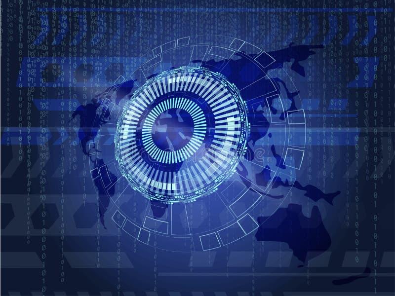 Fond technologique de l'information avec la terre et le code binaire illustration de vecteur