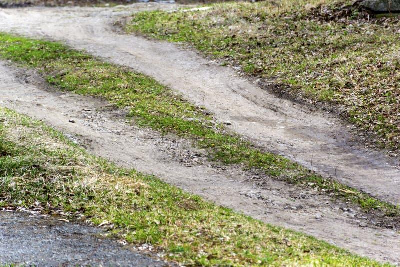 Fond terreux de route avec l'herbe verte image libre de droits