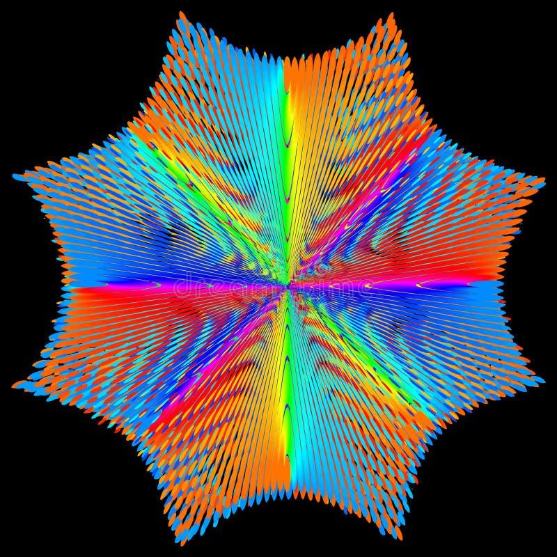 Fond, texture, abstraite L'étoile ou la fleur de couleur est isolée sur le fond noir illustration de vecteur