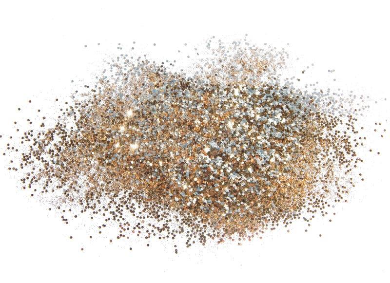Fond texturisé avec l'étincelle d'or de scintillement sur les paillettes blanches et décoratives photographie stock