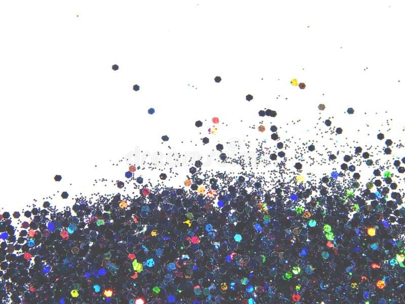 Fond texturisé avec le scintillement olographe noir sur les paillettes blanches et décoratives images stock