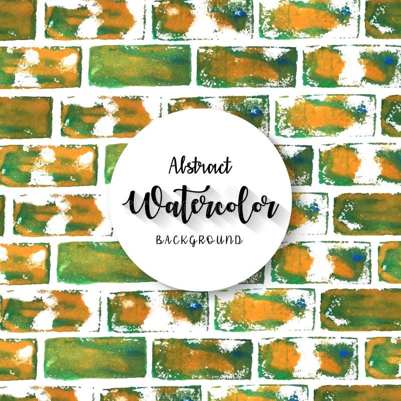 Fond texturisé de mur de briques peint à la main abstrait d'aquarelle illustration libre de droits