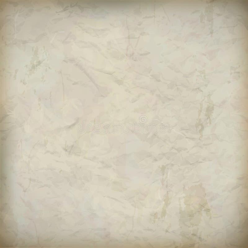 Fond texturisé de vieux papier chiffonné par cru illustration de vecteur