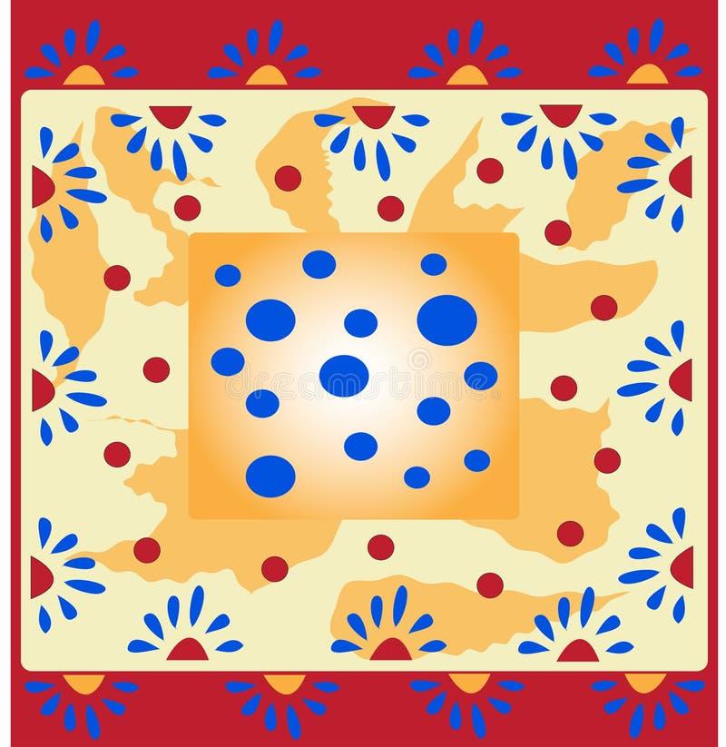 Fond texturisé floral avec des places et des points de polka illustration libre de droits