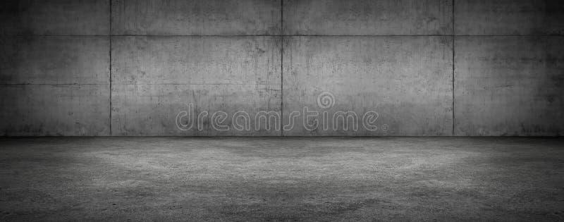 Fond texturisé panoramique moderne de mur en béton d'étape vide sombre de pièce photos libres de droits