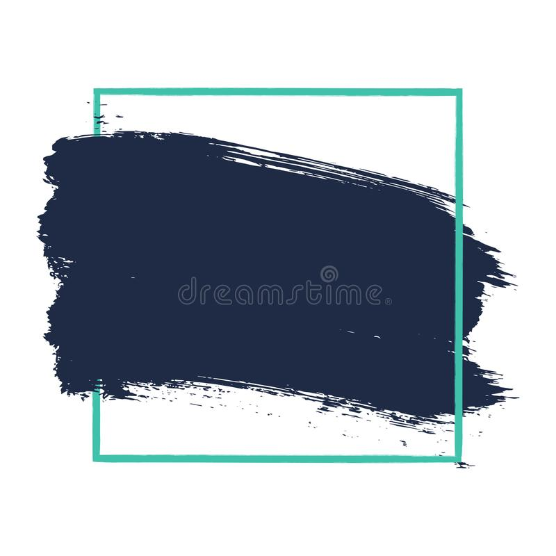 Fond texturisé peint à la main abstrait de brosse d'encre avec le cadre géométrique, courses d'isolement avec les bords approxima illustration de vecteur