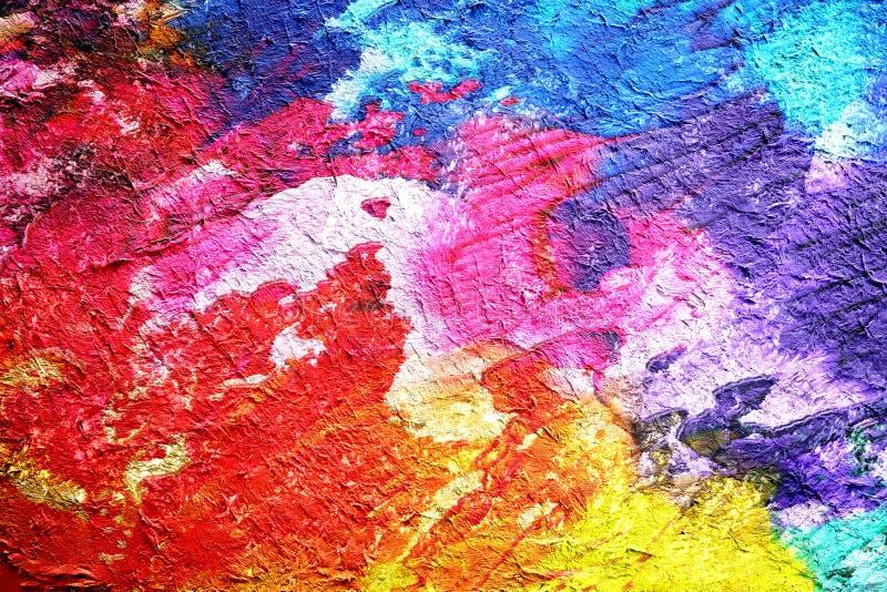 Fond tiré d'aquarelle de peinture abstraite par technique numérique de brosse, papier peint avec la texture polychrome de modèle  image libre de droits