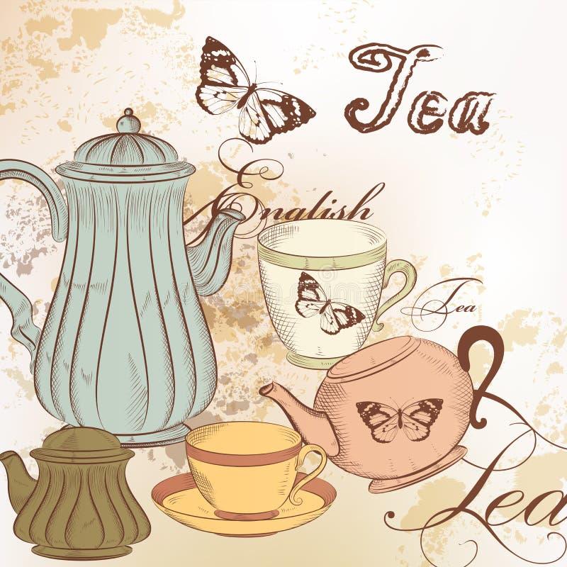 Fond tiré par la main avec le thé dans le style de vintage illustration stock