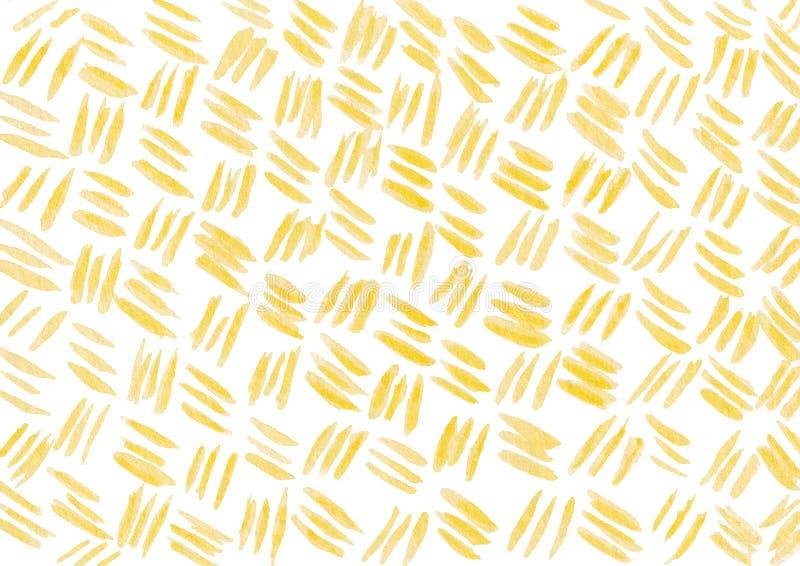 Fond tiré par la main avec les straipes jaunes d'aquarelle illustration libre de droits