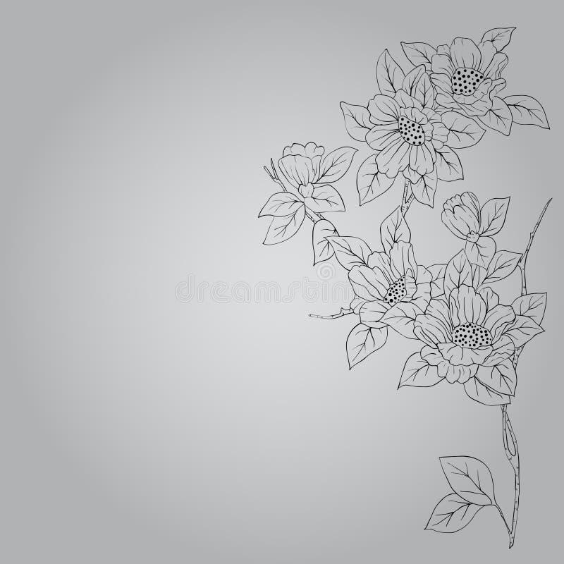 Fond tiré par la main avec une fleur d'imagination illustration stock