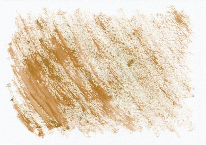 Fond tiré par la main d'aquarelle horizontale sèche d'orange ou de gingembre Belles courses dures diagonales du pinceau images libres de droits